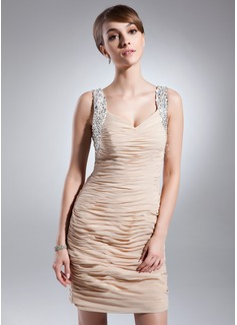 Sheath/Column Sweetheart Short/Mini Chiffon Mother of the Bride Dress With Ruffle Beading Sequins
