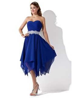 A-Line/Princess Sweetheart Tea-Length Chiffon Lace Homecoming Dress With Ruffle Sash Beading (022010996)