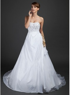 Ball-Gown Sweetheart Chapel Train Taffeta Organza Wedding Dress With Lace Beadwork Flower(s)