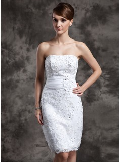 Sheath/Column Strapless Knee-Length Organza Satin Lace Wedding Dress With Beadwork Flower(s) Sequins
