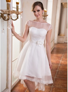 A-Line/Princess Scoop Neck Asymmetrical Organza Charmeuse Wedding Dress With Lace Beading Flower(s)