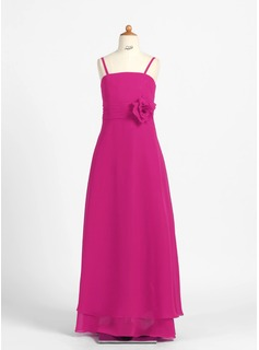A-Line/Princess Floor-Length Chiffon Junior Bridesmaid Dress With Flower(s) (009022484)