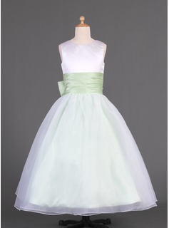 A-Line/Princess Scoop Neck Floor-Length Organza Charmeuse Flower Girl Dress With Sash Bow(s)