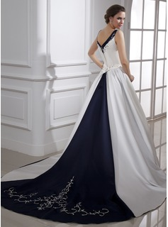 Ball-Gown V-neck Chapel Train Satin Wedding Dress With Embroidery