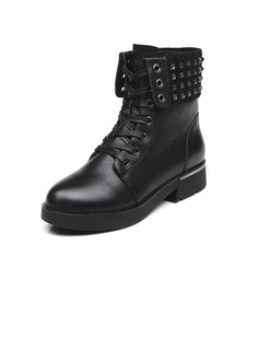 Real Leather Low Heel Ankle Boots Martin Boots With Rivet shoes
