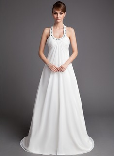 Empire Halter Court Train Chiffon Wedding Dress With Ruffle Beadwork