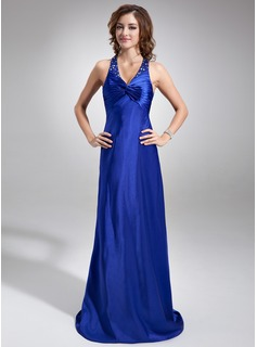 Sheath Halter Sweep Train Charmeuse Prom Dress With Ruffle Beading (018002773)