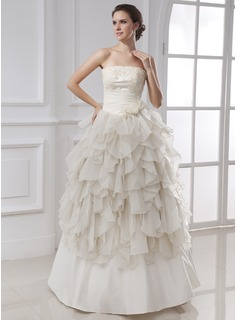 Ball-Gown Strapless Floor-Length Chiffon Satin Wedding Dress With Ruffle Lace Flower(s)