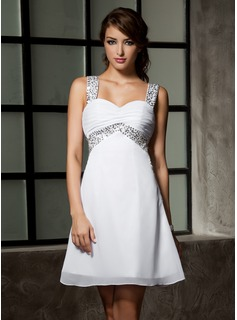 Empire Sweetheart Short/Mini Chiffon Homecoming Dress With Ruffle Beading Sequins (022020867)