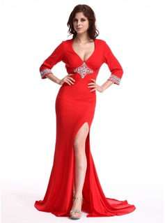 Sheath V-neck Court Train Chiffon Evening Dress With Beading (017022803)