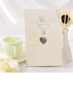 Florales Estilo Wrap & Pocket Invitation Cards con Cintas (Juego de 50)