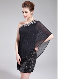 Sheath One-Shoulder Short/Mini Chiffon Sequined Cocktail Dress With Ruffle Beading Appliques (016019175)