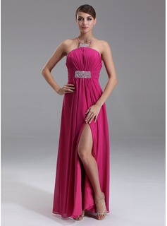 Empire Halter Floor-Length Chiffon Prom Dress With Ruffle Beading (018002469)