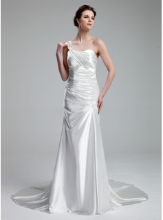A-Line/Princess One-Shoulder Court Train Charmeuse Wedding Dress With Ruffle Beadwork