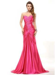 A-Line/Princess Sweetheart Sweep Train Charmeuse Evening Dress With Ruffle Beading Sequins