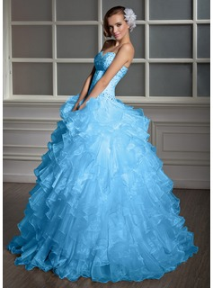 Ball-Gown Sweetheart Floor-Length Organza Quinceanera Dress With Beading