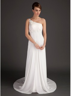 A-Line/Princess One-Shoulder Court Train Chiffon Wedding Dress With Ruffle Beadwork Flower(s) (002015501)