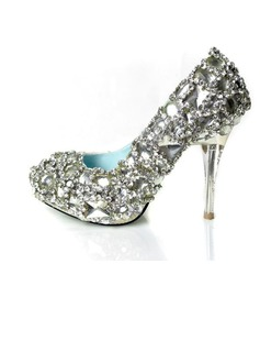 Women's Satin Stiletto Heel Closed Toe Platform Pumps With Rhinestone Crystal Heel (047031207)