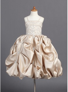 A-Line/Princess Floor-Length Satin Flower Girl Dress With Embroidered Ruffle Beading (010007808)