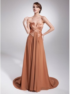 A-Line/Princess Scalloped Neck Court Train Chiffon Charmeuse Evening Dress With Ruffle (017014577)