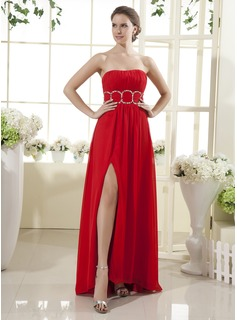 Empire Strapless Floor-Length Chiffon Holiday Dress With Ruffle Beading