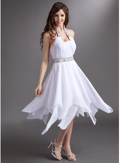 A-Line/Princess Halter Tea-Length Chiffon Prom Dress With Ruffle Beading Sequins