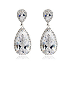 Gorgeous Zircon/Platinum Plated Women's Earrings