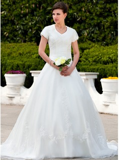 Ball-Gown V-neck Chapel Train Organza Wedding Dress With Ruffle Appliques