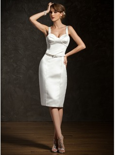 Sheath Sweetheart Knee-Length Satin Cocktail Dress With Sash