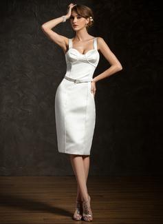 Sheath/Column Sweetheart Knee-Length Satin Cocktail Dress With Sash
