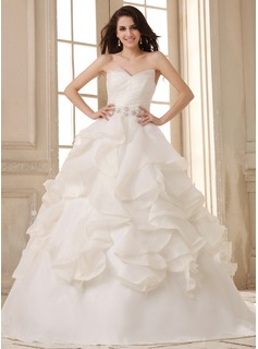 Ball-Gown Sweetheart Court Train Organza Satin Wedding Dress With Ruffle Beading Cascading Ruffles (002026593)