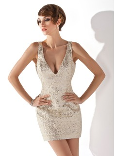 Sheath V-neck Short/Mini Sequined Cocktail Dress