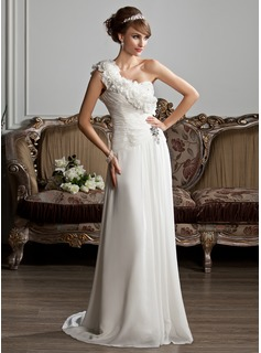 A-Line/Princess One-Shoulder Sweep Train Chiffon Wedding Dress With Ruffle Beading Flower(s)