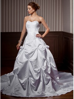 A-Line/Princess Sweetheart Chapel Train Satin Wedding Dress With Embroidery Ruffle Beadwork