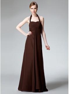 Sheath Halter Floor-Length Chiffon Bridesmaid Dress With Ruffle (007001743)