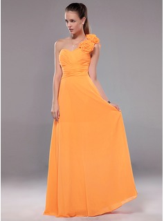 A-Line/Princess One-Shoulder Floor-Length Chiffon Evening Dress With Ruffle Flower(s) (017012109)