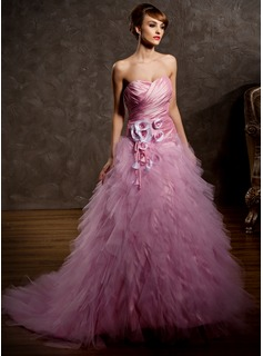Ball-Gown Sweetheart Court Train Taffeta Tulle Wedding Dress With Ruffle Flower(s) (002011428)