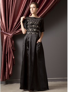 A-Line/Princess Scoop Neck Floor-Length Charmeuse Lace Mother of the Bride Dress With Ruffle