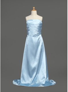 A-Line/Princess Strapless Sweep Train Charmeuse Junior Bridesmaid Dress With Ruffle (009003443)