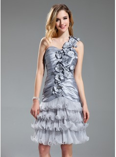 A-Line/Princess One-Shoulder Knee-Length Taffeta Organza Cocktail Dress With Ruffle Beading Flower(s) (016019710)