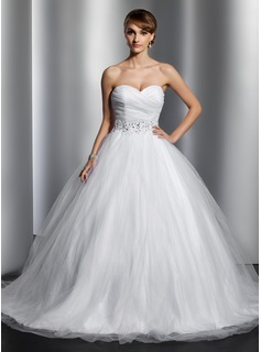 Ball-Gown Sweetheart Chapel Train Satin Tulle Wedding Dress With Ruffle Beading Sequins