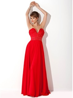 A-Line/Princess Sweetheart Floor-Length Chiffon Prom Dress With Beading Flower(s)