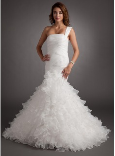 Mermaid One-Shoulder Court Train Organza Wedding Dress With Ruffle (002012756)