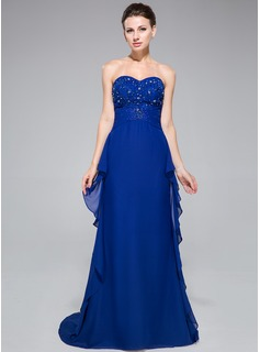 Trumpet/Mermaid Sweetheart Sweep Train Chiffon Evening Dress With Lace Beading Cascading Ruffles