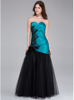Mermaid Sweetheart Floor-Length Taffeta Tulle Prom Dress With Ruffle Lace Beading Feather Flower(s)