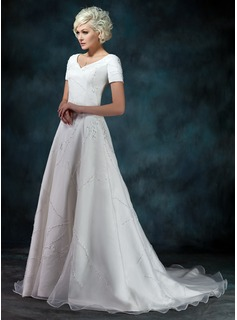 A-Line/Princess V-neck Court Train Organza Satin Wedding Dress With Beadwork Appliques