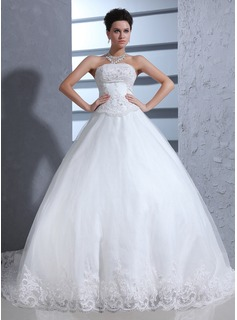 Ball-Gown Sweetheart Chapel Train Satin Tulle Wedding Dress With Lace Beadwork (002017370)