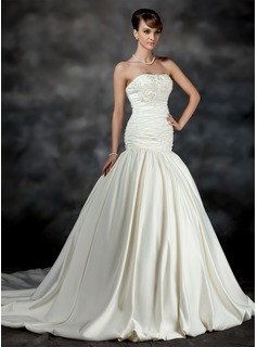 Mermaid Strapless Court Train Satin Wedding Dress With Ruffle Lace Beadwork Flower(s) (002017183)