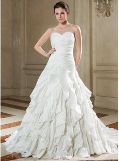 A-Line/Princess Sweetheart Court Train Taffeta Wedding Dress With Cascading Ruffles Pleated