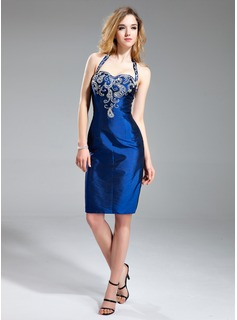 Sheath Halter Knee-Length Taffeta Cocktail Dress With Beading (016019125)